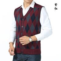 2016 秋冬男装新款男装中年 英伦风尚格纹开衫男士男V领针织衫