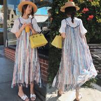 夏装上衣两件套装中长款雪纺连衣裙时尚孕妇装夏天裙子