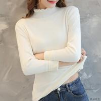加绒毛衣女半高领荷叶边韩版套头修身短款秋冬新款保暖加厚打底衫