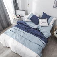 水洗棉四件套纯色双拼纯棉床单小清新简约全棉床上三件套
