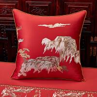 中式刺绣抱枕古典中国风靠包床头大靠背办公室靠枕套红木沙发靠垫