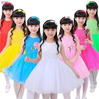 幼儿园舞蹈服蓬蓬裙演出服装夏季儿童表演服女童公主裙白色纱裙
