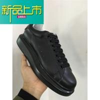 新品上市新款真皮松糕鞋男厚底韩版增高运动休闲小白鞋板鞋女男鞋潮