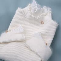 【秋冬新品】打底毛衣假两件套头蕾丝荷叶木耳边领上衣女秋冬新 均码