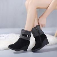 短靴女韩版加绒二棉鞋2018新品搭扣高跟百搭侧拉链靴子
