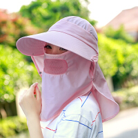 太阳帽 女 夏天防晒遮阳帽 骑车遮脸防紫外线潮帽子空顶帽可折叠