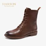 哈森2019秋冬新款羊皮革百搭帅气马丁靴女圆头低跟短靴HA98102