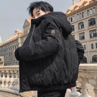 男士羽绒服2019冬季新款百搭外套连帽韩版潮牌保暖中长款H 98234黑色