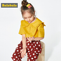 巴拉巴拉童装女童衬衫短袖小童宝宝夏装新款纯棉格子儿童衬衣
