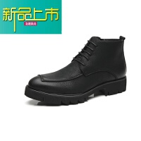 新品上市中帮马丁靴男冬季新款英伦风复古短靴男士韩版潮流沙漠高帮鞋