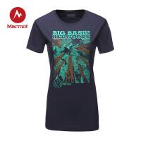 Marmot/土拨鼠女款户外运动时尚印花轻便透气圆领短袖棉T恤