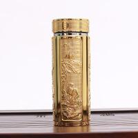 浮雕银杯子s999纯银内胆保健杯泡茶银水杯男女士保温杯礼品养生杯