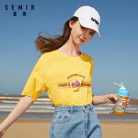 森�R夏季2020新款��松短袖T恤女�b趣味水果�D案休�e上衣透�饧�棉