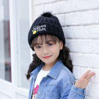 温暖女冬中大童加绒加厚毛线帽子韩版潮儿童保暖围脖帽子2件套装