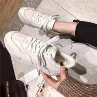 201902170618216712018冬新款白色高帮休闲女鞋真皮圆头系带厚底板鞋保暖棉鞋运动鞋