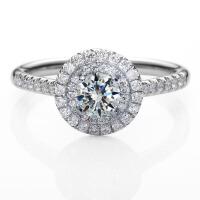 先恩尼钻石 白18K金婚戒 钻石戒指 克拉钻效果 结婚订婚戒指 求婚戒指ZJ260 附证书
