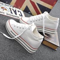 内增高帆布鞋女秋韩版学生松糕跟厚底板鞋休闲系带小白鞋单鞋