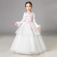 女童公主裙婚纱儿童走秀礼服冬季长袖蓬蓬裙小花童生日晚礼服