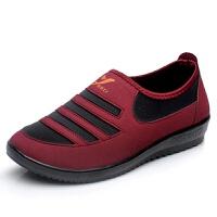 春秋新款老北京布鞋女鞋中老年妈妈鞋休闲鞋女平底运动女单鞋 红色 单鞋红色 35