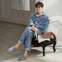 男士睡衣秋冬款珊瑚绒加厚加绒冬季法兰绒保暖青年蓝色家居服套装 MR91477