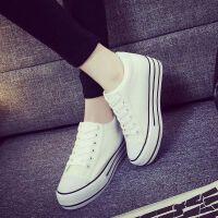 平跟低帮布鞋松糕休闲板鞋单鞋春夏帆布鞋女学生韩版内增高厚底鞋