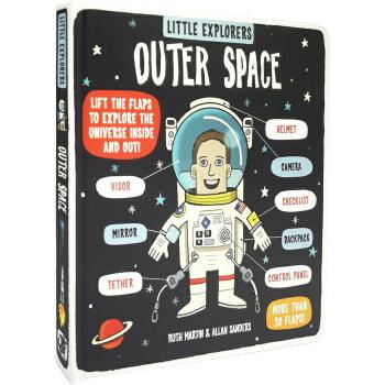 英文原版绘本 Little Explorers Outer Space 小探险家流浪 纸板翻翻书 地球太空科普百科 宇宙星球 小学生STEM课外读物