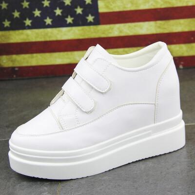 小白鞋厚底内增高女休闲运动鞋女秋季学生透气百搭韩版新款魔术贴 白色