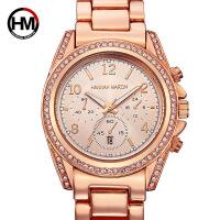 女士日历玫瑰金时尚商务镶水钻腕表石英钢带时装watch手表