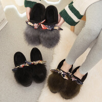 棉拖鞋女冬季包跟办公室厚底可爱保暖韩版毛毛绒防滑有带后跟冬天