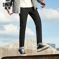 森马牛仔裤男装2020新款撞色抽绳松紧腰裤子学生潮牌慢跑长裤秋季