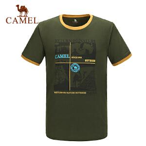 camel骆驼户外休闲短袖圆领T恤 春夏男款透气舒适T恤