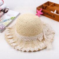 韩版小孩防晒沙滩帽可爱蕾丝蝴蝶结童帽 儿童草帽遮阳帽子