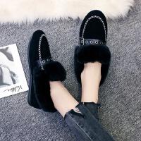 一脚踏毛毛鞋豆豆鞋女2018冬季韩版学生百搭加绒棉鞋孕妇雪地靴 黑色 皮扣9901