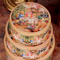 圆形收纳盒铁皮盒饼干盒曲奇饼干盒马口铁盒金属盒 蛋糕点心包装盒 小熊一家圆罐马口铁盒三件套