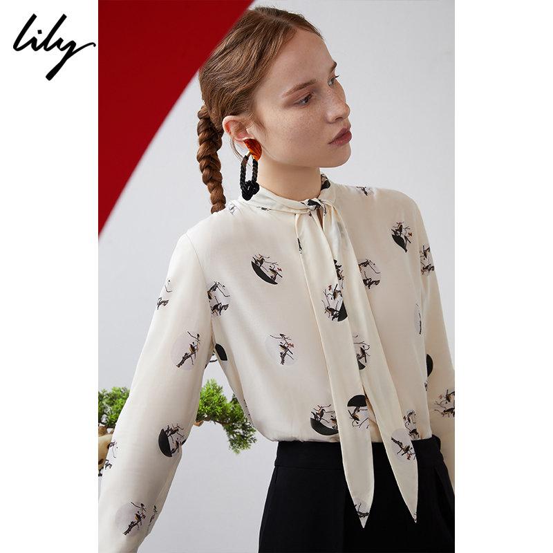 【明星同款】Lily春系带领印花衬衫119110C8276