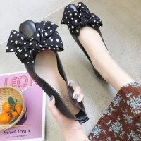 户外绑带蝴蝶结芭蕾舞鞋甜美方头套脚浅口单鞋女平底鞋韩版仙女鞋