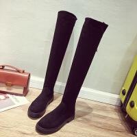 过膝长靴女2018秋冬新款韩版显瘦弹力袜子靴加绒平底长筒靴瘦瘦 黑色