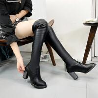 长靴女过膝粗跟瘦瘦靴2018冬季高跟长筒显瘦弹力加绒女靴子 黑色 新品(7厘米)