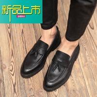 新品上市春季英伦男鞋真皮复古男士商务休闲皮鞋韩版一脚蹬懒人鞋