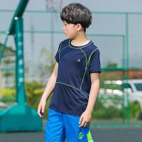男童户外运动速干衣套装短袖T恤中大童夏季短裤训练篮球服足球服