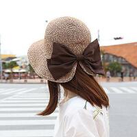 帽子夏季蝴蝶结款草帽防紫外线防晒帽可折叠度假太阳帽
