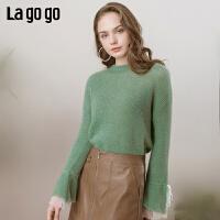 【清仓5折价193】Lagogo/拉谷谷2019春新款宽松淑女时尚圆领短款针织衫IAMM45ZG14
