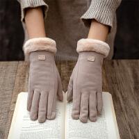 手套冬天女加绒加厚保暖防寒韩版可爱可触摸屏五指手套骑行开车潮