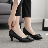 高跟鞋女细跟5cm百搭舒适单鞋2019春季新款工作鞋女黑色职业尖头 黑色