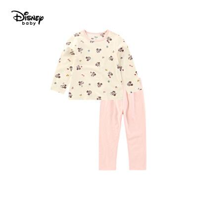 【2件3折价:56.7】迪士尼童装儿童上衣长裤家居服两件套秋冬新款宝宝女童内衣套装