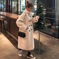 新年礼物冬季女装韩版宽松立领仿羊羔毛棉衣中长款双排扣加厚保暖外套 米白色 均码