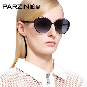 帕森偏光太阳镜女 金属大框潮墨镜女士炫彩膜太阳镜 9838