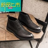 新品上市冬季保暖靴子男真皮高帮系带皮鞋中帮马丁靴男圆头短靴复古工装靴