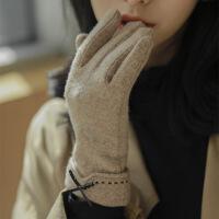 热卖 羊毛春秋手套女士秋冬天加厚保暖防寒五指分指韩版骑行触屏冬季 均码
