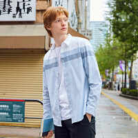 森马长袖衬衫男新款春季时尚翻领撞色拼接休闲衬衣男装外套潮